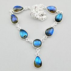 31.53cts natural blue labradorite 925 sterling silver necklace jewelry t26345