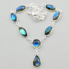 28.13cts natural blue labradorite 925 sterling silver necklace jewelry t26349