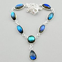 28.73cts natural blue labradorite 925 sterling silver necklace jewelry t26351
