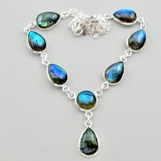 31.53cts natural blue labradorite 925 sterling silver necklace jewelry t26355