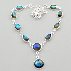 25.67cts natural blue labradorite 925 sterling silver necklace jewelry t26357
