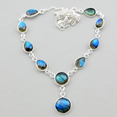26.20cts natural blue labradorite 925 sterling silver necklace jewelry t26358