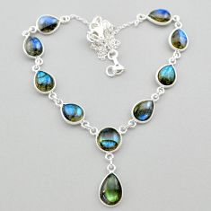 31.94cts natural blue labradorite 925 sterling silver necklace jewelry t26360
