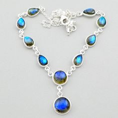 26.62cts natural blue labradorite 925 sterling silver necklace jewelry t26363