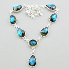 31.37cts natural blue labradorite 925 sterling silver necklace jewelry t26365