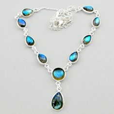 26.58cts natural blue labradorite 925 sterling silver necklace jewelry t26366