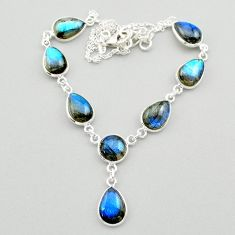 31.00cts natural blue labradorite 925 sterling silver necklace jewelry t26368