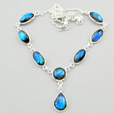 26.08cts natural blue labradorite 925 sterling silver necklace jewelry t26369