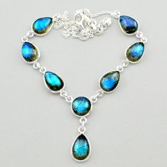 30.86cts natural blue labradorite 925 sterling silver necklace jewelry t26371