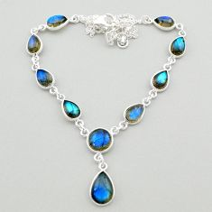 26.20cts natural blue labradorite 925 sterling silver necklace jewelry t26373