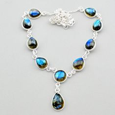 33.10cts natural blue labradorite 925 sterling silver necklace jewelry t26374