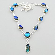 25.65cts natural blue labradorite 925 sterling silver necklace jewelry t26377