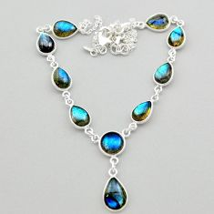 30.40cts natural blue labradorite 925 sterling silver necklace jewelry t26379