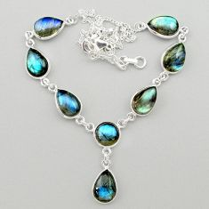31.53cts natural blue labradorite 925 sterling silver necklace jewelry t26381