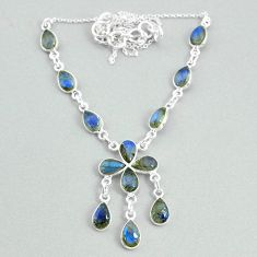 19.45cts natural blue labradorite 925 silver necklace jewelry t34117