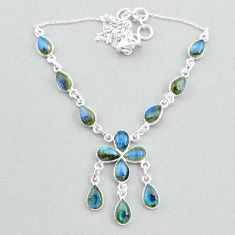 19.81cts natural blue labradorite 925 silver necklace jewelry t34135