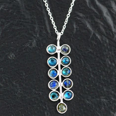 5.43cts natural blue labradorite 925 sterling silver necklace jewelry t4719