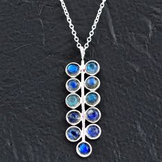 5.73cts natural blue labradorite 925 sterling silver necklace jewelry t4720