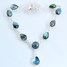 24.45cts natural blue labradorite pear 925 sterling silver necklace r69384