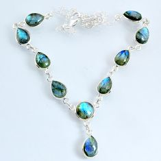 25.05cts natural blue labradorite pear 925 sterling silver necklace r69389