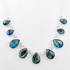 32.57cts natural blue labradorite pear 925 sterling silver necklace t16116