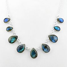 32.55cts natural blue labradorite pear shape sterling silver necklace t16110