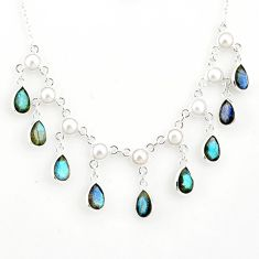 22.54cts natural blue labradorite pearl 925 sterling silver necklace r77393