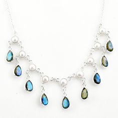 22.54cts natural blue labradorite pearl 925 sterling silver necklace r77395