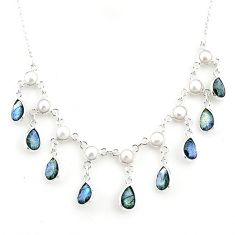 22.15cts natural blue labradorite pearl 925 sterling silver necklace r77397