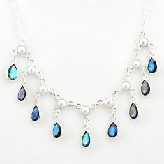 22.15cts natural blue labradorite pearl 925 sterling silver necklace r77398