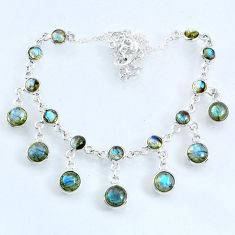 25.23cts natural blue labradorite round 925 sterling silver necklace r69364