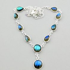 25.65cts natural blue labradorite round 925 sterling silver necklace t26346