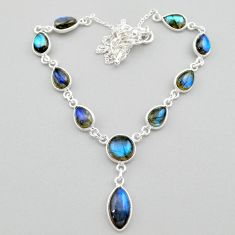 26.72cts natural blue labradorite round 925 sterling silver necklace t26353