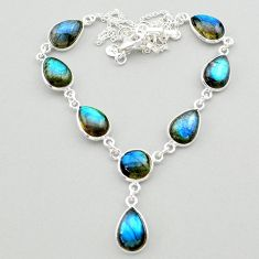 31.00cts natural blue labradorite round 925 sterling silver necklace t26372