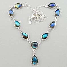27.55cts natural blue labradorite round 925 sterling silver necklace t26383
