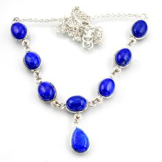 34.80cts natural blue lapis lazuli 925 sterling silver necklace jewelry d45880