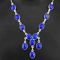 31.00cts natural blue lapis lazuli 925 sterling silver necklace jewelry r94108