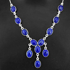 30.39cts natural blue lapis lazuli 925 sterling silver necklace jewelry r94109