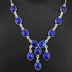 31.00cts natural blue lapis lazuli 925 sterling silver necklace jewelry r94111