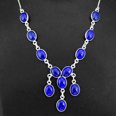 29.34cts natural blue lapis lazuli 925 sterling silver necklace jewelry r94112