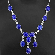 33.29cts natural blue lapis lazuli 925 sterling silver necklace jewelry r94113