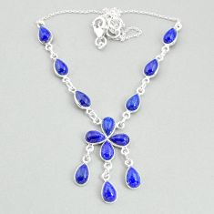 23.11cts natural blue lapis lazuli 925 silver necklace jewelry t34101