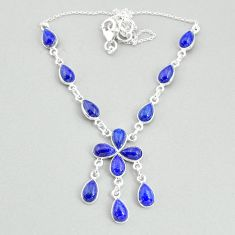 22.07cts natural blue lapis lazuli 925 silver necklace jewelry t34102