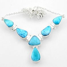 28.71cts natural blue larimar 925 sterling silver necklace jewelry r52282