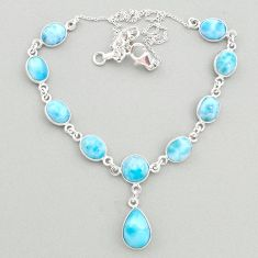 32.10cts natural blue larimar 925 sterling silver necklace jewelry t19482