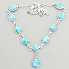 30.29cts natural blue larimar 925 sterling silver necklace jewelry t19484