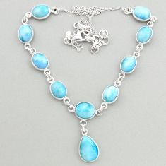 30.40cts natural blue larimar 925 sterling silver necklace jewelry t19485