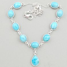 35.05cts natural blue larimar 925 sterling silver necklace jewelry t19487