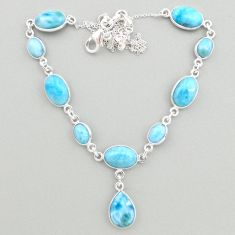 32.45cts natural blue larimar 925 sterling silver necklace jewelry t19489