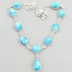 36.94cts natural blue larimar 925 sterling silver necklace jewelry t19490
